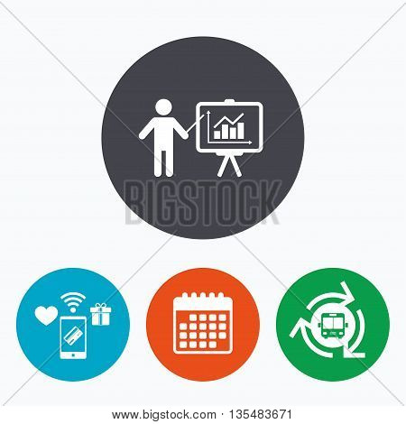 Presentation sign icon. Man standing with pointer. Scheme and Diagram symbol. Mobile payments, calendar and wifi icons. Bus shuttle.