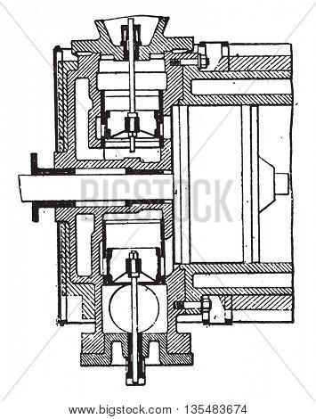 Distribution pistons-valves, Van den Kerchove system, vintage engraved illustration. Industrial encyclopedia E.-O. Lami - 1875.