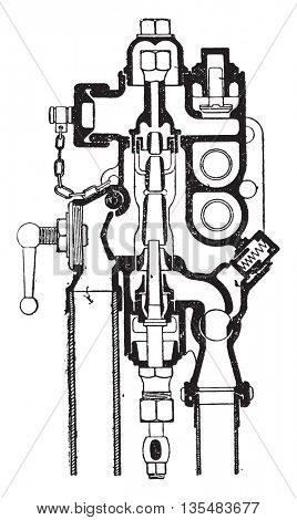 Friedman injector automatic reboot, T. latter type series, vintage engraved illustration. Industrial encyclopedia E.-O. Lami - 1875.