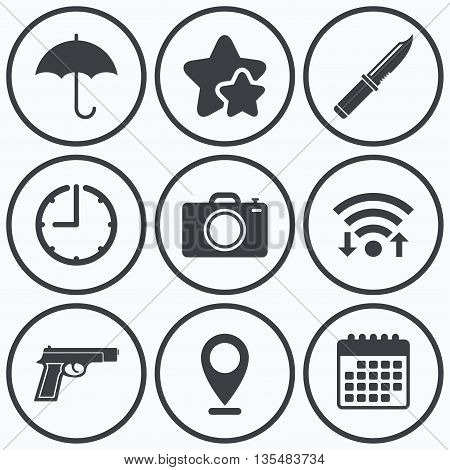 Clock, wifi and stars icons. Gun weapon icon.Knife, umbrella and photo camera signs. Edged hunting equipment. Prohibition objects. Calendar symbol.