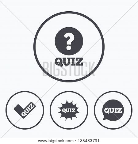 Quiz icons. Speech bubble with check mark symbol. Explosion boom sign. Icons in circles.
