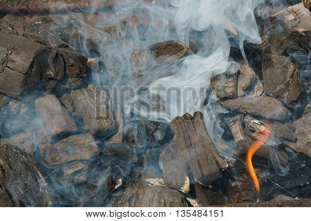 Charcoal Embers Close-up Background or Texture Black