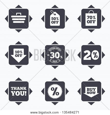 Icons with direction arrows. Sale discounts icon. Shopping cart, coupon and buy now signs. 20, 30 and 50 percent off. Special offer symbols. Square buttons.