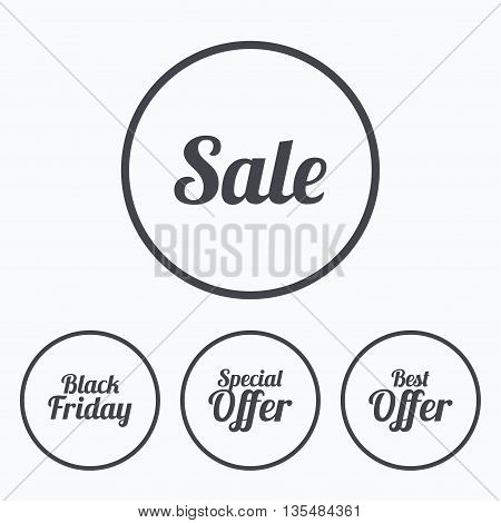 Sale icons. Best special offer symbols. Black friday sign. Icons in circles.