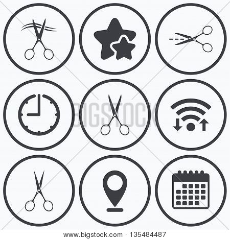 Clock, wifi and stars icons. Scissors icons. Hairdresser or barbershop symbol. Scissors cut hair. Cut dash dotted line. Tailor symbol. Calendar symbol.