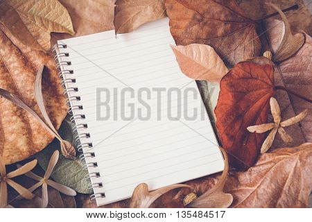 Notebook with leaves mock up Autumn toning background