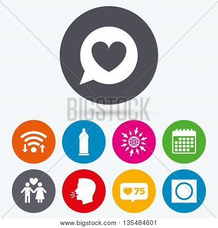 Wifi, like counter and calendar icons. Condom safe sex icons. Lovers couple signs. Male love female. Speech bubble with heart. Human talk, go to web.