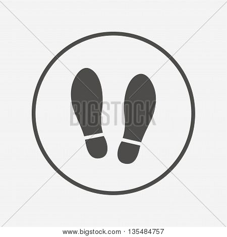 Imprint shoes sign icon. Shoe print symbol Flat shoes icon. Simple design shoes symbol. Shoes graphic element. Round button with flat shoes icon. Vector
