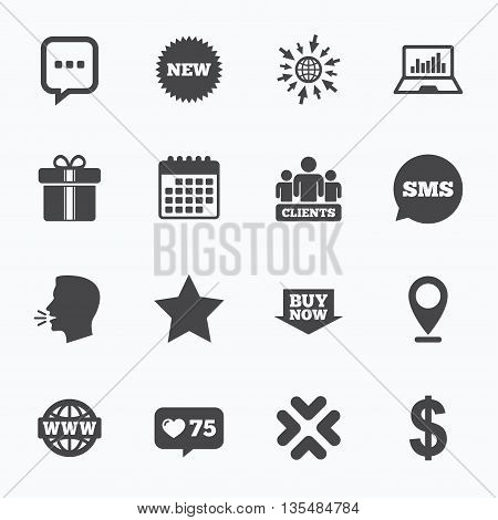 Calendar, go to web and like counter. Online shopping, e-commerce and business icons. Gift box, chat message and star signs. Chart, dollar and clients symbols. Sms speech bubble, talk symbols.