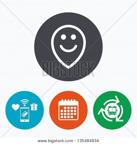Happy face map pointer symbol. Smile icon. Mobile payments, calendar and wifi icons. Bus shuttle.