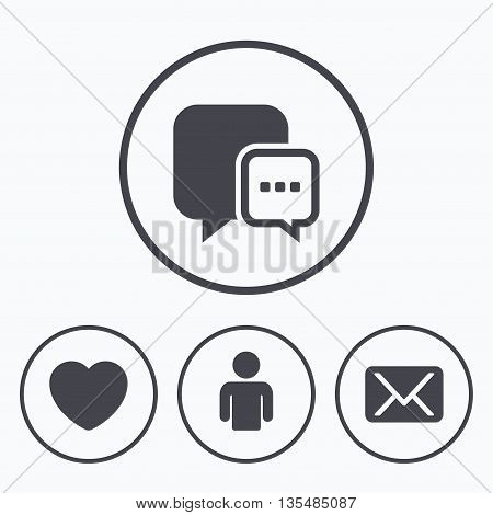 Social media icons. Chat speech bubble and Mail messages symbols. Love heart sign. Human person profile. Icons in circles.