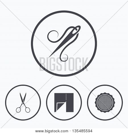 Textile cloth piece icon. Scissors hairdresser symbol. Needle with thread. Tailor symbol. Canvas for embroidery. Icons in circles.