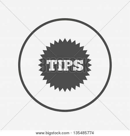 Tips sign icon. Star symbol.  Flat tips icon. Simple design tips symbol. Tips graphic element. Round button with flat tips icon. Vector