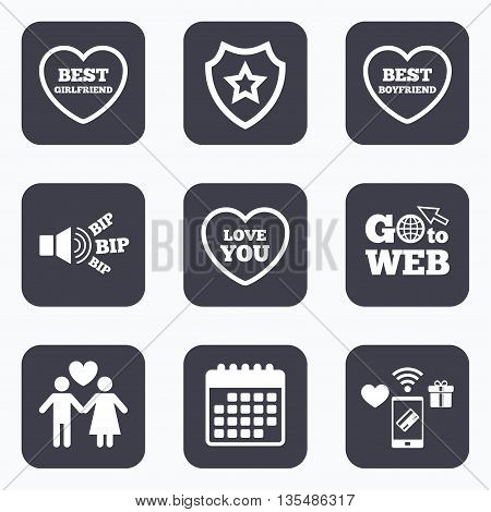 Mobile payments, wifi and calendar icons. Valentine day love icons. Best girlfriend and boyfriend symbol. Couple lovers sign. Go to web symbol.