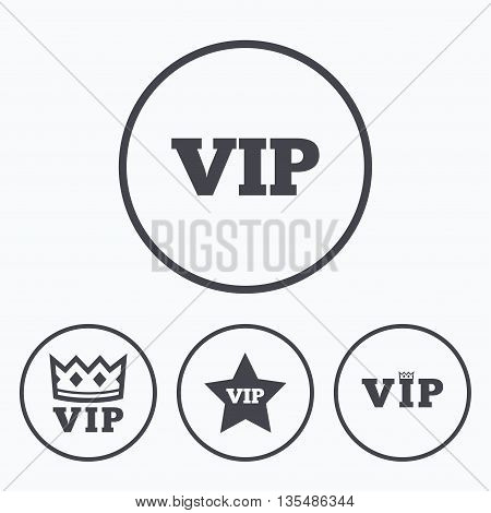 VIP icons. Very important person symbols. King crown and star signs. Icons in circles.