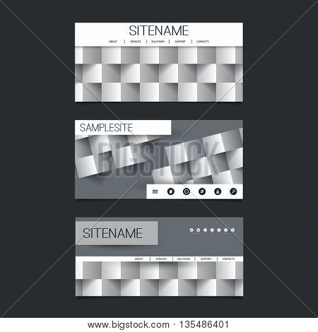 Web Design Elements - Header Design Set with Black and White Abstract 3D Cubic Pattern Background