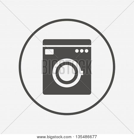 Washing machine icon. Home appliances symbol. Flat washing machine icon. Simple design washing machine symbol. Washing machine graphic element. Round button with flat washing machine icon. Vector