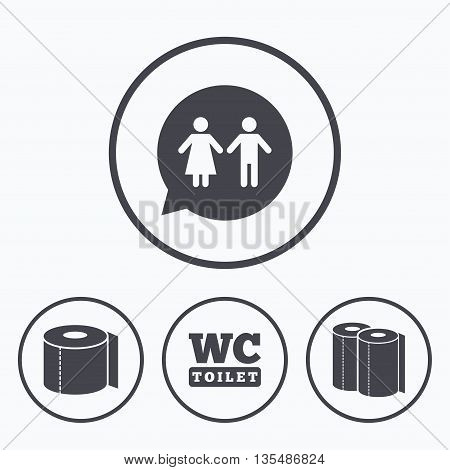 Toilet paper icons. Gents and ladies room signs. Paper towel or kitchen roll. Man and woman symbols. Icons in circles.