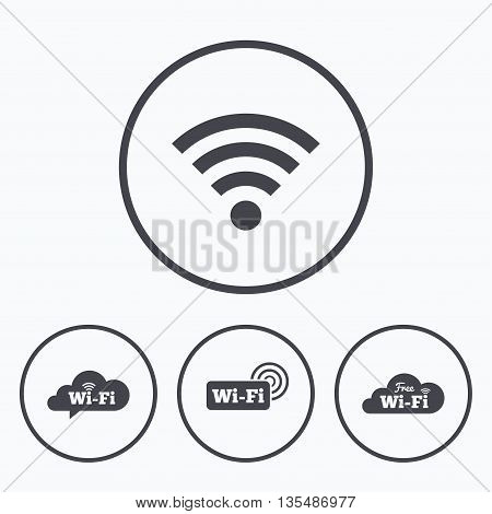 Free Wifi Wireless Network cloud speech bubble icons. Wi-fi zone sign symbols. Icons in circles.