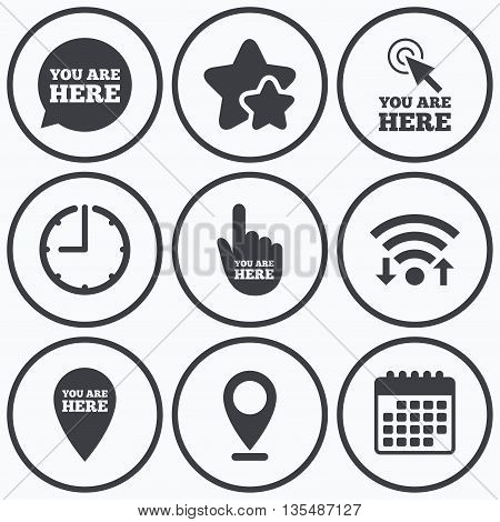 Clock, wifi and stars icons. You are here icons. Info speech bubble symbol. Map pointer with your location sign. Hand cursor. Calendar symbol.
