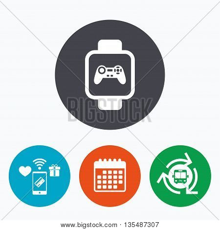 Smart watch sign icon. Wrist digital watch. Game joystick entertainment symbol. Mobile payments, calendar and wifi icons. Bus shuttle.