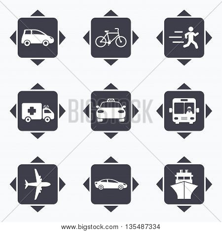 Icons with direction arrows. Transport icons. Car, bike, bus and taxi signs. Shipping delivery, ambulance symbols. Square buttons.