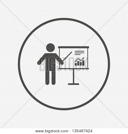 Presentation billboard sign icon. Diagram symbol Flat presentation icon. Simple design presentation symbol. Presentation graphic element. Round button with flat presentation icon. Vector
