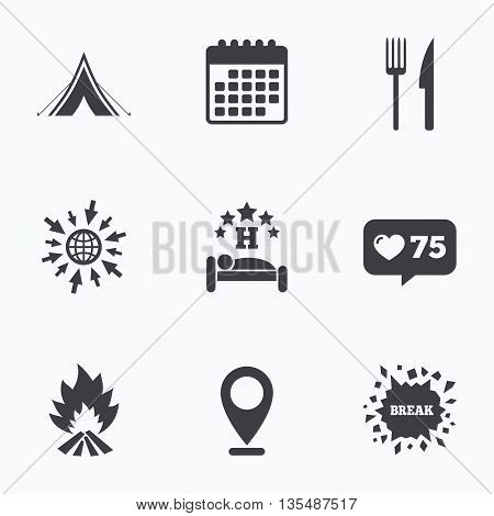 Calendar, like counter and go to web icons. Food, sleep, camping tent and fire icons. Knife and fork. Hotel or bed and breakfast. Road signs. Location pointer.