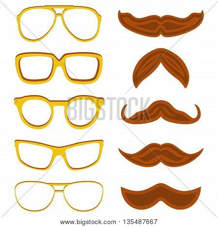 Set of hipster nerd glasses and stylish mustaches isolated on white. Web Banner Vector Flat Design. Vector Mustache and Glasses Icons. Hipster creative design template illustration
