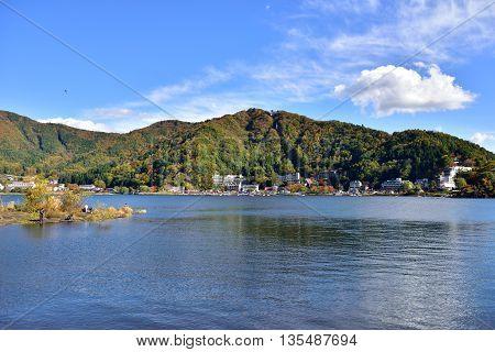 Lake Kawaguchi located in Fujikawaguchiko southern Yamanashi Prefecture near Mount Fuji Japan.