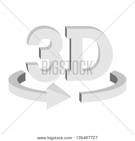 3D rotate button sign in solid grayscale colors icon isolated on white background. Blank horisontal rotation arrow. Vector illustration.