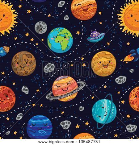 Seamless children cartoon space pattern with rockets, planets, stars and dashed traces over the dark night sky background. Set of Solar system planets - Mercury, Venus, Earth, Mars, Jupiter and Saturn, Uranus and Neptune.