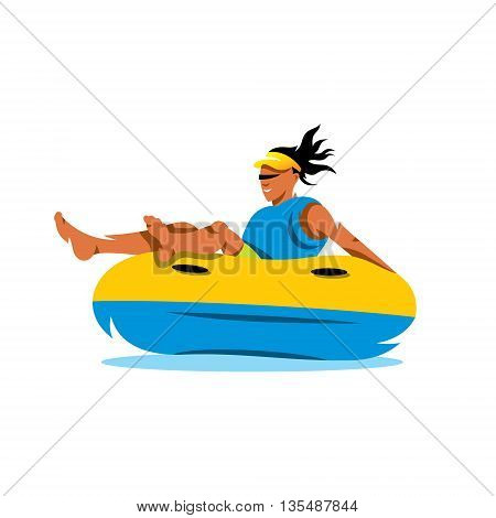 The woman riding on an inflatable tube on the water. Isolated on a white background