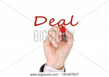 Businessman/teacher hand writing DEAL by red marker pen on virtual screen whiteboard