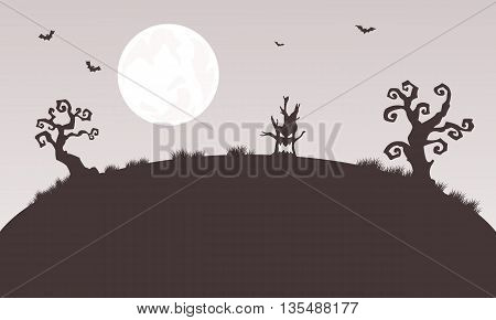 Silhouette of Halloween tree monster and tree vector art