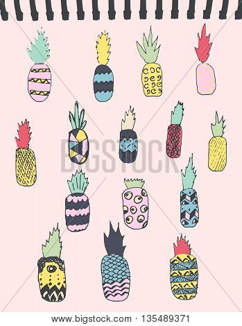 Stylish print. Hand drawn pineapples . Summer print. Vector