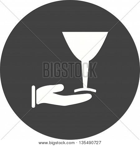 Wine, serve, glass icon vector image. Can also be used for kitchen. Suitable for use on web apps, mobile apps and print media.