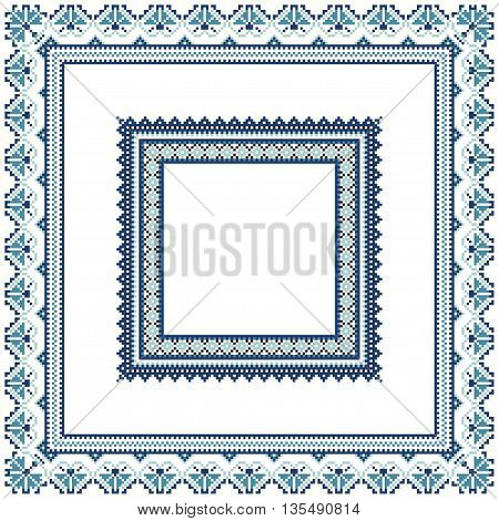 Set of Ethnic ornament pattern frames in blue colors. Vector illustration. From collection of Balto-Slavic ornaments