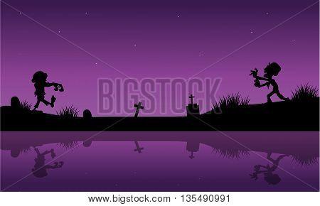 Purple backgrounds Halloween zombie vector art illustration