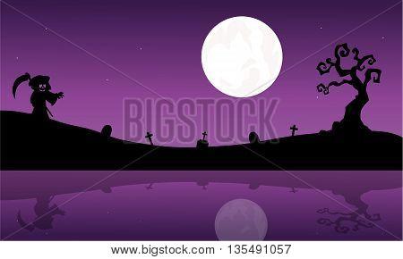 Silhouette of warlock in riverbank Halloween purple backgrounds
