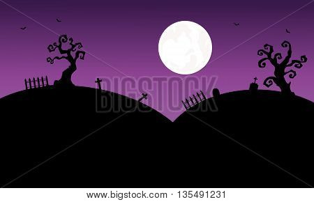 Silhouettte of tomb Halloween and full moon backgrounds