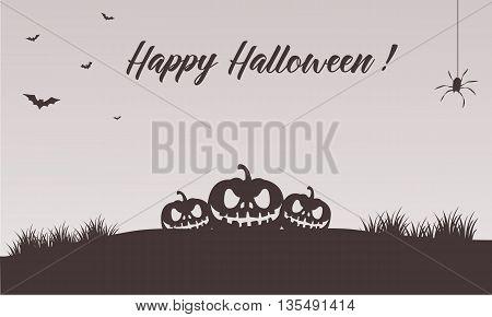 Happy halloween pumpkins backgrounds vector art illustration