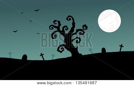 Halloween tomb and dry tree silhouette at the night