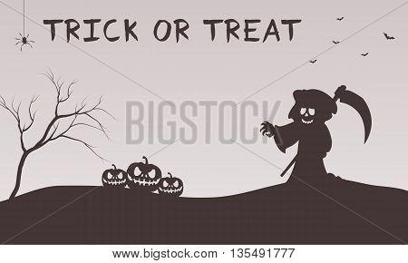 Halloween warlock and pumpkins silhouette flat illustration