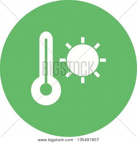 Hot, weather, sun icon vector image. Can also be used for seasons. Suitable for web apps, mobile apps and print media.