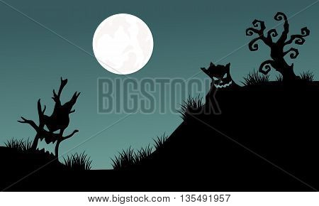Halloween tree monster and full moon backgrounds illustration