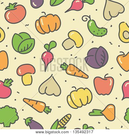 Seamless background with stylized illustrations of the vegetables and avocado