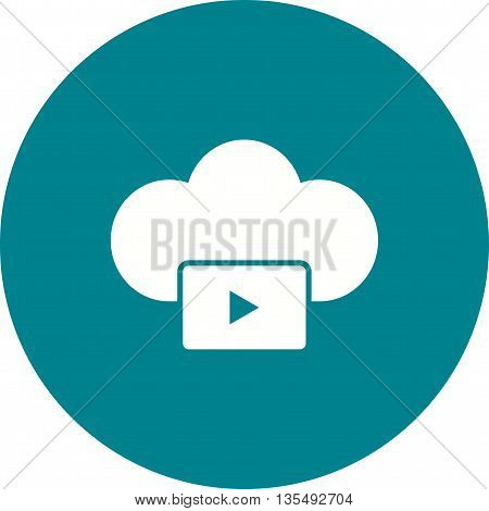 Video, cloud, media icon vector image.Can also be used for data sharing. Suitable for mobile apps, web apps and print media.