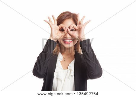 Asian Business Woman Do Funny  Double Ok Sign As Glasses