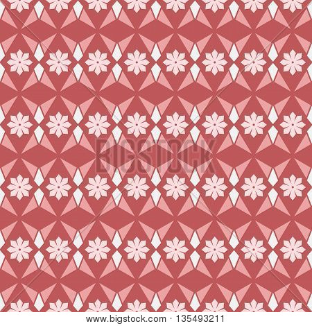 Seamless geometry vector texture floral pattern in red background